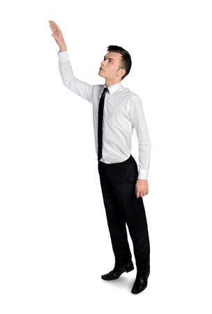 pick: Isolated business man pick something Stock Photo