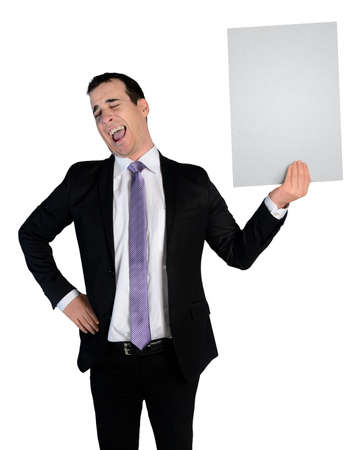 Isolated business man laugh at empty file photo