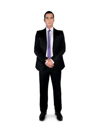глядя на камеру: Изолированные деловой человек, глядя камеры