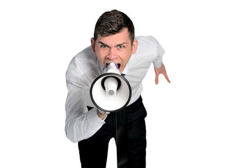 Isolated business man angry shouting photo
