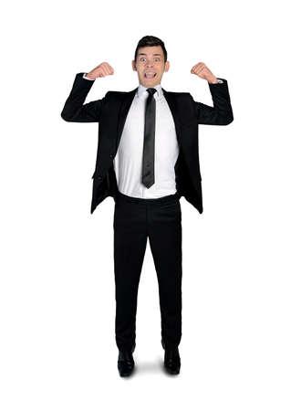 arrogancia: Hombre de negocios que muestra aislada del músculo