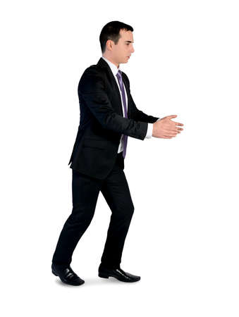 Isolated business man carry something photo