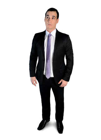 Isolated business man looking surprised photo