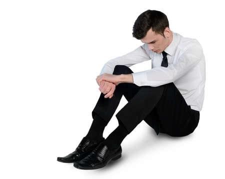 mirada triste: Hombre de negocios aislados triste establecen