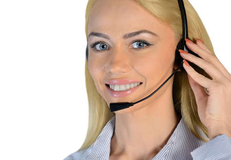 Isolated business woman support call photo
