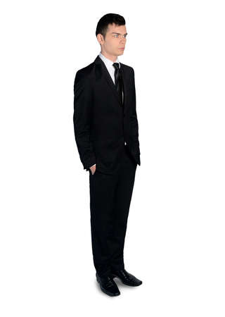 incertitude: Isolated business man looking side