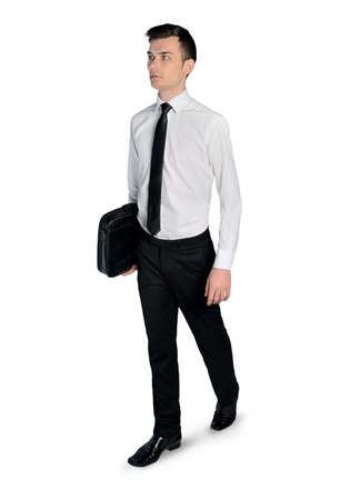 Isolated business man walk away photo