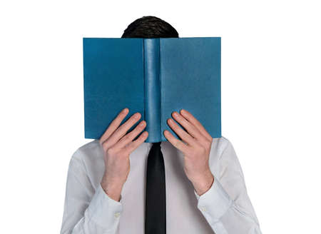 'hide out': Isolated business man hide reading book