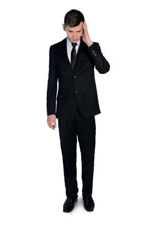 man looking down: Isolated business man looking down Stock Photo