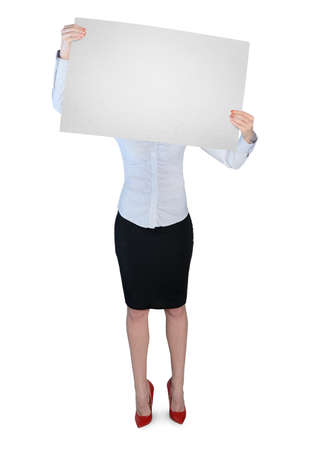 Isolated business woman with empty board photo