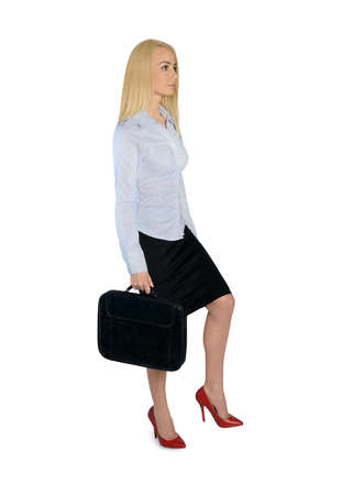 Isolated business woman step up photo