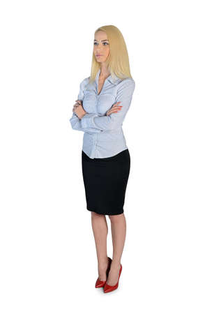 looking at side: Isolated business woman looking side