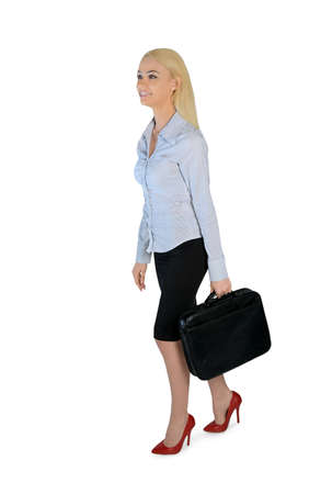 Isolated business woman walk side photo