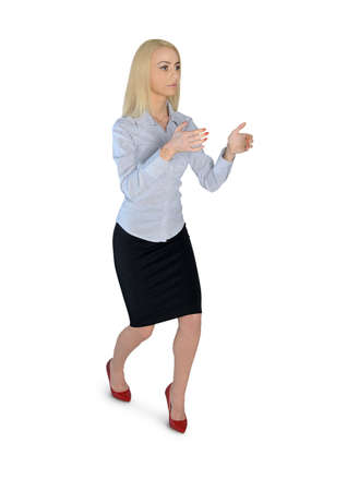 Isolated business woman carry something photo