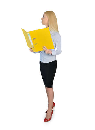 Isolated business woman reading file photo