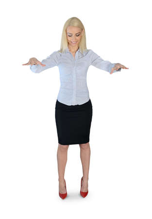 dominating: Isolated business woman puppeteer smile Stock Photo