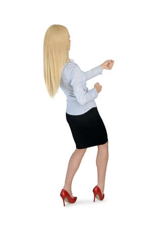 grabbing back: Isolated business woman pull something
