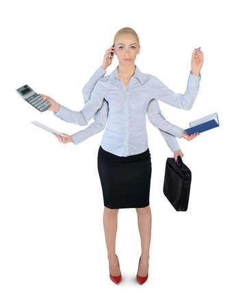 tasking: Isolated business woman multi tasking