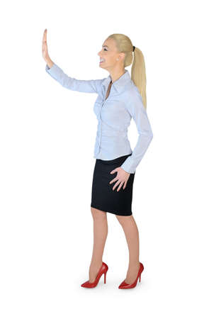 Isolated business woman presenting something photo