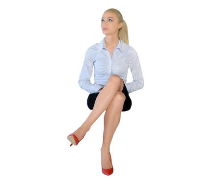 Isolated business woman looking up
