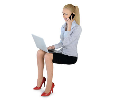 Isolated business woman with laptop