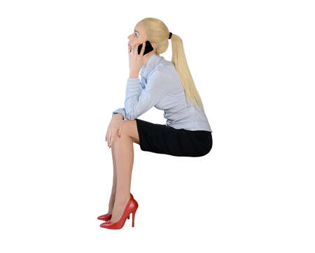 imaginary dialogue: Isolated business woman talk phone Stock Photo