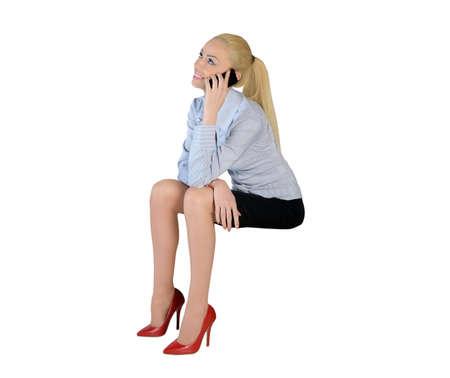 imaginary dialogue: Mujer de negocios aislada conversaci�n telef�nica Foto de archivo