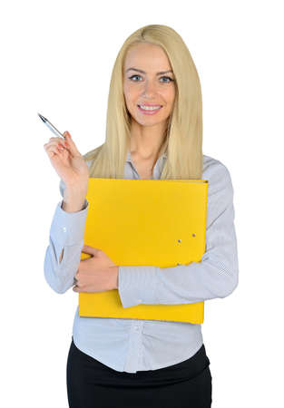 Isolated business woman pointing side photo