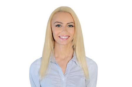 глядя на камеру: Изолированные бизнес женщина счастливым, глядя камеры Фото со стока