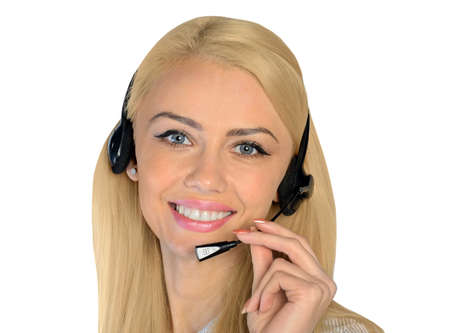 Isolated business woman with headphones photo