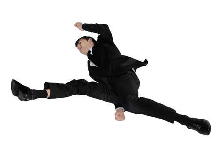 Isolated business man jumping photo