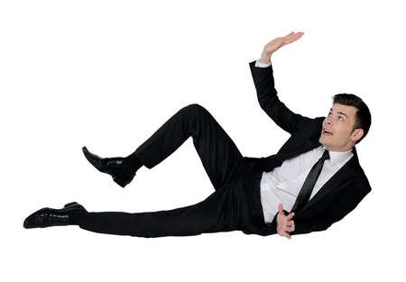 dodge: Isolated business man dodge something