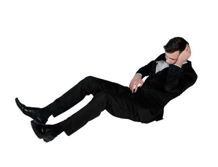 Isolated business man suffer on floor photo