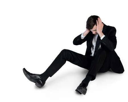 suffer: Isolated business man suffer on floor Stock Photo