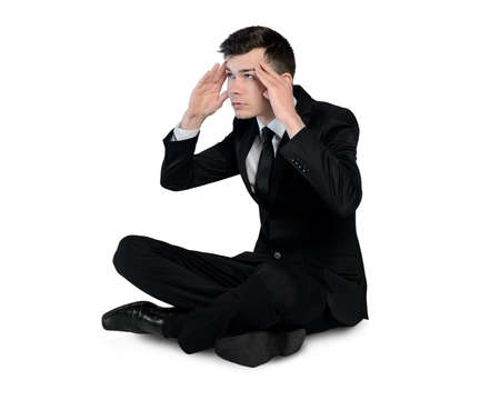 Isolated business man thinking solution photo