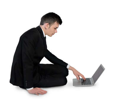 adult  body writing: Isolated business man writing laptop Stock Photo