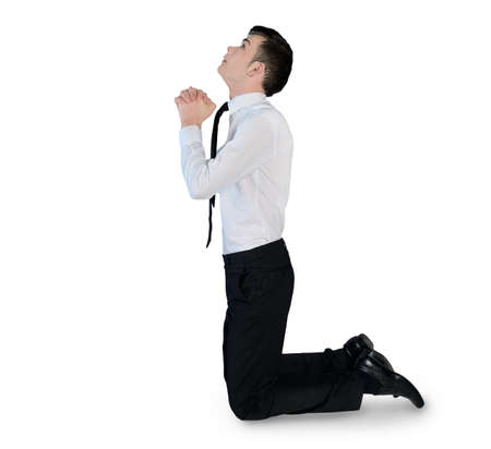 Isolated business man pray looking up photo