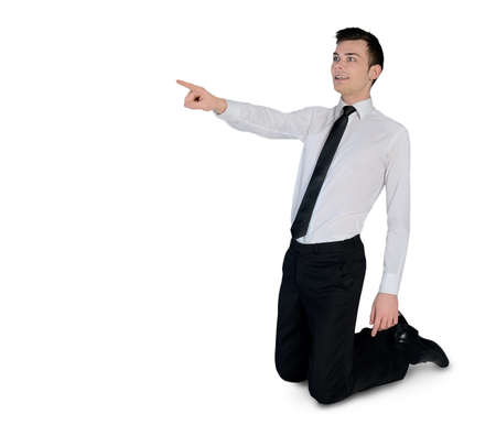 incriminate: Isolated business man pointing side