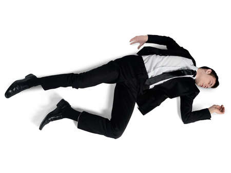 dream body: Isolated business man sleep position