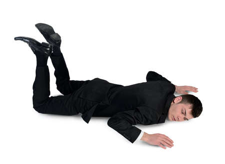 accident dead: Isolated business man sleep position
