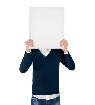 Isolated young man with empty board photo