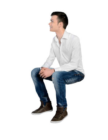 looking to side: Isolated young man looking side Stock Photo