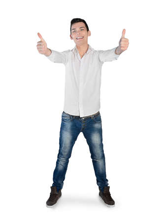 posing  agree: Isolated young man showing ok sign Stock Photo