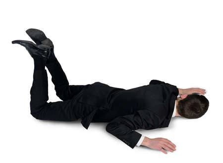 grounds: Isolated business man sleep position