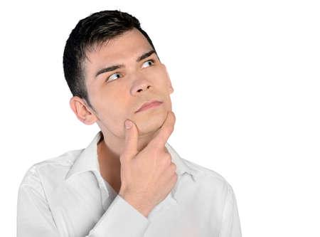 hombre pensando: Solución de hombre de pensamiento joven aislado