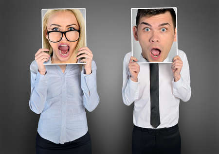 in shock: Shocked face of business woman and man Stock Photo