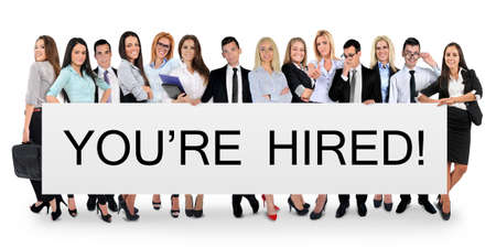 You are hired word writing on white banner Stock Photo