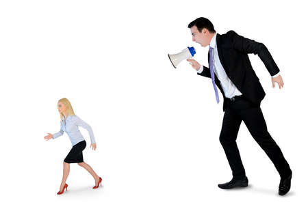 Business man screaming on megaphone on little woman photo