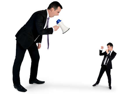 man screaming: Isolated business man screaming on megaphone
