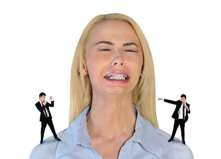 little business man: Isolated little business man screaming on stressed woman